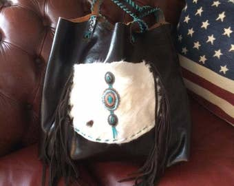Western brown leather tote - turquoise - fur