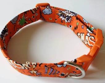 Orange dog collar Bespoke dog collars handmade dog collars dog collars UK superhero dog collars fabric dog collar high quality dog collars