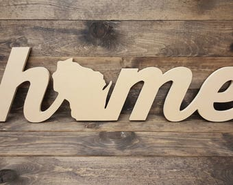 """44"""" Wisconsin Home Unfinished Cutout Typography Sign MM-0048"""