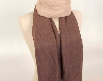 Brown Scarf, Beige Scarf, Color Scarf, Women Scarf, Best Scarf, One of a kind, Unique Scarf, Summer Scarf, for Mom, for her, Girl Scarf