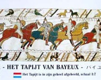 Book: Bayeux Tapestry, picture story of the conquest of England by William the Conqueror