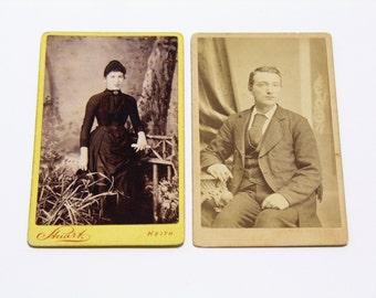 FREE SHIPPING SALE: Pair of Carte De Visite Photographs Antique Old Photos