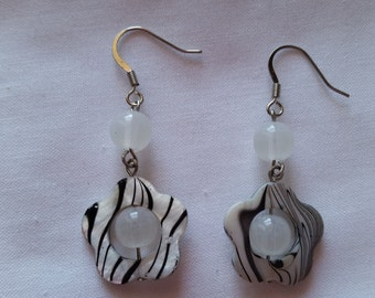 Mother of Pearl Flower Earrings with white beads and black and white