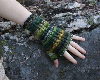 Green Multicoloured Knitted Fingerless Gloves