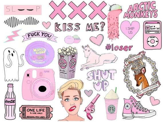Tumblr Big A4 Pink Sticker Sheet Planner Diary Stickers