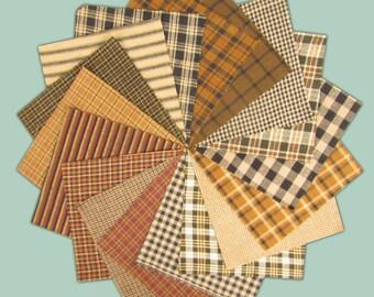 6 inch  -- 40 Brown & Black Homespun Quilt Squares