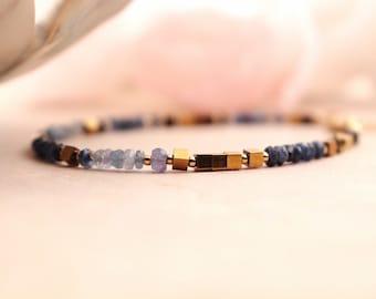 Blue Shaded Sapphire Gemstones Bracelet - Gold-Filled  Precious Bracelet - Sapphire Minimalist Jewelry.