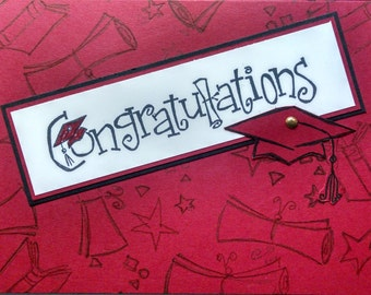 Graduation, Graduation Card, Handmade Card, Stampin Up Card, Commencement Card, Graduation 2017. Congratulations Card, Red/White Card