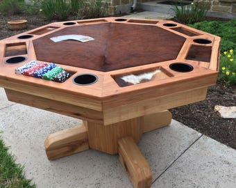 Handcrafted Solid Hickory and Cowhide Poker Table
