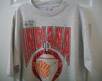 Vintage 1992 Indiana Hoosiers T tee Shirt Extra Large XL NCAA March Madness Final Four Bobby Knight IU Bloomington College Basketball 90s