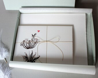 Fine handmade stationery set, hand-printed, in box