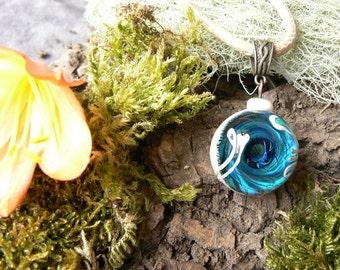 Pendant Vortex blue glass, 2 1 pendant