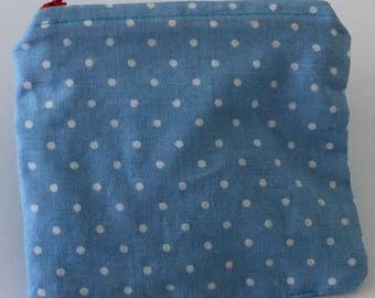 Coin Purse - Blue & White Polka Dots Cardholder Wallet Red Zipper