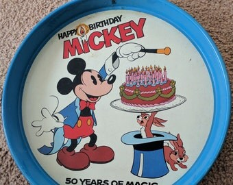 Mickey Mouse Tin Tray 50th Anniversary Vintage Metal Walt Disney Plate Serving Platter