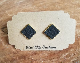 Black leather studs in a gold Square setting, genuine leather, earrings, posts