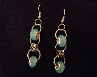 Earring with blue beads