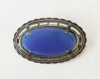 Vintage Lovely Blue Deco Pin