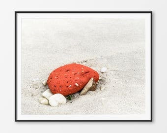 Red Stone on a Beach, Beach Photography, Zen, Calm, Instant Download, Pebbles, Sand, Ocean front, Nature Photography, Rocks and Sandy Beach