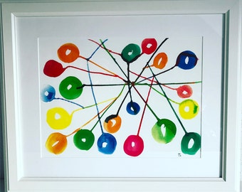 Connections... colorful art print of original illustration, wall art, poster