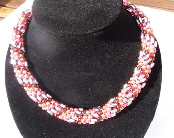 Red and Gold Russian Spiral necklace