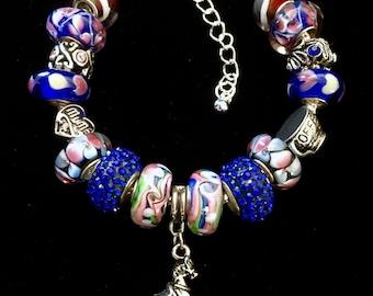 Murano Glass Beads Bracelet, Pandora Style, European Beads Bracelet, Horse Charm Bracelet, Coffee Cup Charm, Add a Bead, Heart Charm