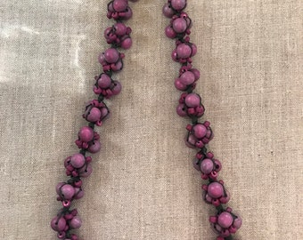 Wooden colored bead necklace