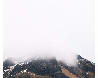 Foggy landscape photograph, landscape,large prints, mountain, fog, minimal