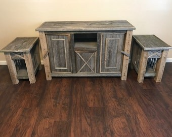 Barn Wood Entertainment Stand with Matching End Tables