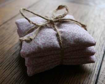 Pretty Tied Trio of English Yorkshire Lavender Filled Sachet Bags
