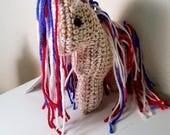 Americana White Gold Crochet Horse Plushie