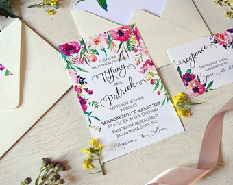 Romantic Wedding Invitation Template, Bohemian Wedding Invites,Floral Watercolor Wedding Invitations, Nature Wedding, Invitation Suite