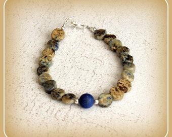 Migraines meditation balance Ying Yang chakra bracelet Jasper and sterling silver lapis lazuli gems 925 lapis lazuli