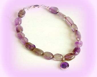 Minimalist bracelet gems pendant Amethyst quartz and silver clasp of law 925 chic gift flat beads