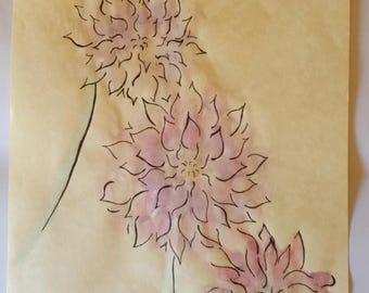 Watercolour Dahlias, A4 Original Illustration, One of a Kind, Hand Drawn, Parchment Paper