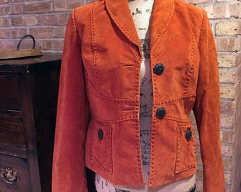 80s Boho Hippie Brick Orange Vintage Genuine Suede Leather Jacket Blazer Trenc Coat Top stitch Buttons