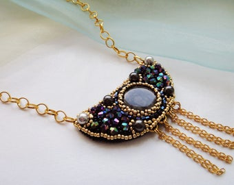 "Beads and cabochon necklace ""Midnight"", unusual jewelry, beadwork pendant, crochet beaded necklace, beadwork necklace"