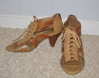 Aldo Leather Lace-up open toe heeled sandals size 7 1/2