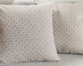 "Natural geometric pattern cushion cover. 17"" x 17"" Square abstract trellis design, double sided."