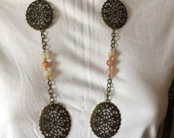 Antiqued Bronze Filigree Oval Necklace And Earrings