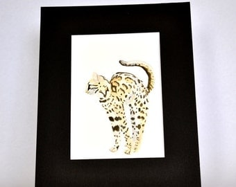 Original Watercolor Bengal Cat