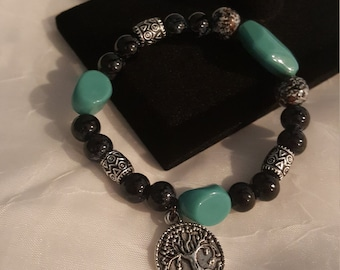 Tree Of Life Black and Turquoise Stretch Bracelet