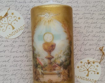 First Communion Candle -Gold