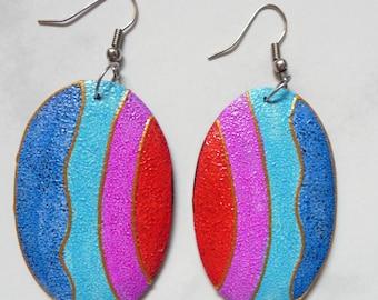 Painted wood oval earrings