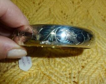 Vintage Sterling Bracelet Wide Hinged Bangle Thailand NWTc. 1972