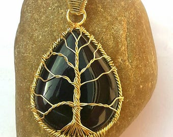 Mother's day Gift Tree of Life Pendant Black Onyx Brass Wire Wrapping Pendant gift-for-all mother gift-for-husband & wife Brass Pendant