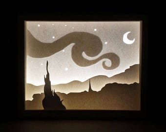 Paper Cut Silhouette Light Box - The Starry Night by Van Gogh