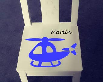 Personalized kids chair - Helicopter