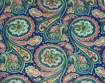 Vintage Blue Green Red and Yellow Paisley Wrapping Paper Piece
