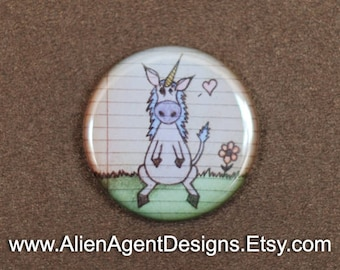 Unicorn Doodle Pinback Button, Unicorn Lover Gift, Unicorn Art, Pinback Button Badge, Fridge Magnet, Hand Drawn, Gift for Him, Gift for Her
