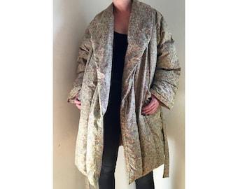Japanese Puffer Coat/ Down Jacket/ Vintage Streetwear/ Down Coat/ Printed Puffer Jacket/ Designer Coat/Free Size
